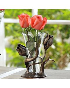 Aluminium tulips around a glass bud vase
