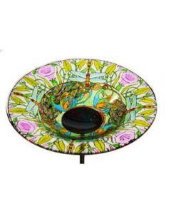 Dragonfly Glass Bird Bath Bowl