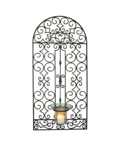 Garden Gate Glass Hurricane Holder