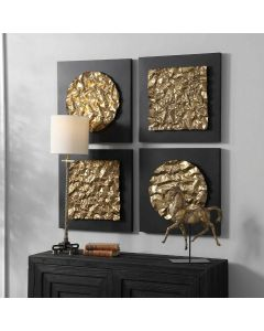 Geometric Metal Gold Wall Sculptures