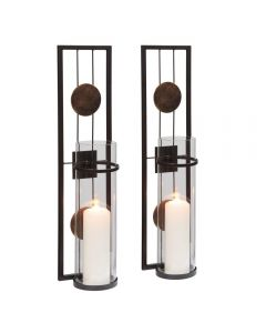 Medallion Pillar Candle Sconce