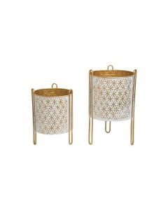 Set Of 2 Brass Planters With Stands