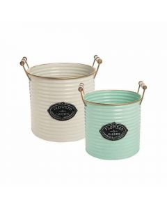 Set of 2 Metal Garden Bins