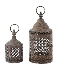 Set Of 2 Candle Holder Lantern