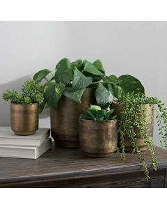 Set Of 4 Brass Flower Pots