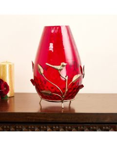 Solid Glass Vase with Metal Stand