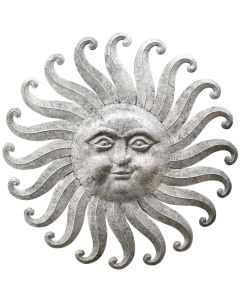 Gray Metal Sun Face Wall Decor