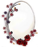 Wrought Iron Mirror with 3D Flowers