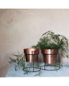 Antique Copper Planters With Stand